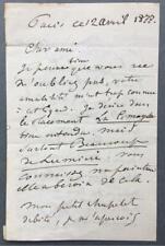 More details for henri harpignies, french artist, signed letter, 1877