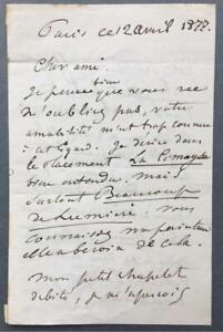 Henri Harpignies, French Artist, SIGNED letter, 1877