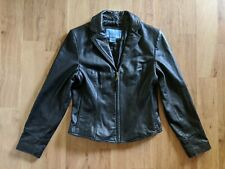 Nine West Women S Black Leather Jacket Zip Lapel Pocket
