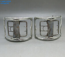 More details for antique georgian george iii pair solid sterling silver shoe buckles london 1799