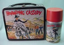 Vintage 1954 Hopalong Cassidy metal lunch box and matching thermos.