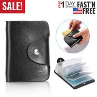 Women Men Credit Card Holder Business Pocket Case Slim Purse PU Leather Wallet