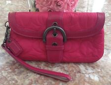 Coach Pink Signature Embossed Nylon Leather Trim Buckle Flap Wristlet