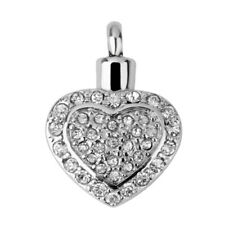 Crystal Heart Cremation Jewelry Pendant Urn Ash Keepsake Memorial Necklaces