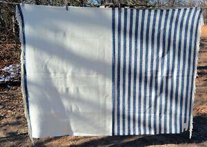 "Southern Living SOFT cream/dark blue fringed 50x70"" throw"