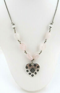 Lucky Brand Silver Tone Heart With Pink Semi Precious Accents Pendant Necklace