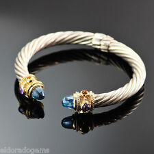 GEMSTONE BANGLE 14K YELLOW GOLD & STERLING SILVER 7 MM CABLE HINGED CUFF BRACELE