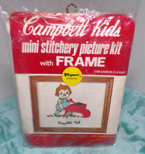 CAMPBELL'S CAMPBELL KIDS MINI STITCHERY PICTURE KIT C105 GARDEN CLEANUP ~ VOGART