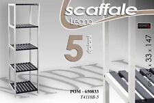 SCAFFALE IN LEGNO BIANCO/BLU 5 RIPIANI 34X33X147 CM POM-660833