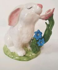 Blue Sky Clayworks Easter Bunny w/ Flower Table Top Spring Decor Goldminc 2018