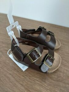 New Infant Boys Old Navy  Brown Earth Double Buckle Sandals  0-3 3-6 Months 1 2