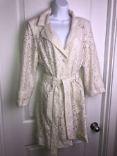 Janie Bryant Mod Lace Duster Trench Coat Sz M Ivory Belted Lined Mad Men Retro