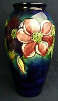 Moorcroft CLEMATIS large Blue Vase circa 1940's-50's Made in England