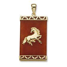 PalmBeach Jewelry Genuine Red Jade 14k Yellow Gold Charm Horse Pendant