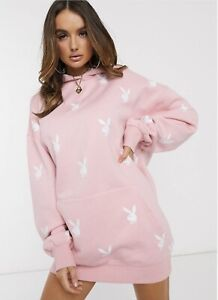 Missguided Playboy All Over Bunny Graphic Hoodie Dress In Pink RRP £40