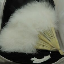 Hand Fan Folding White Feather