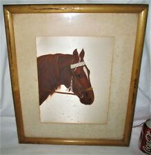 #2 EQUESTRIAN ART OIL HAND PAINTING ON SATIN SIGN SILK HORSE PICTURE GLASS FRAME