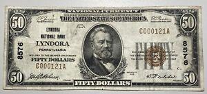 1929 $50 Lyndora NB Pennsylvania  Small Size National CH# 8576