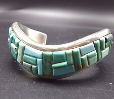 Vintage DAVID FREELAND Sterling Silver TURQUOISE Cobblestone Inlay Cuff BRACELET