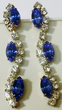 boucles d'oreilles percées couleur argent bijou vintage saphir cristal bleu 464