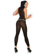 VIVACE OPAQUE HOODED DEEP V FOOTLESS BODYSTOCKING One Size