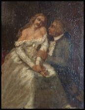 Scène galante Peinture à l'huile sur bois Début du 19e siècle painting