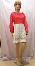 Darling Vtg 60s/70s Vicky Vaughn Rockabilly Hot Pink Embroidered Dress, Mod 9/10