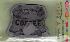 New Stampendous RUBBER STAMP cling House Mouse COFFEE BREAK  free USA ship