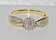 Beautiful 9ct Yellow Gold & Silver Diamond Cluster Ring - size R
