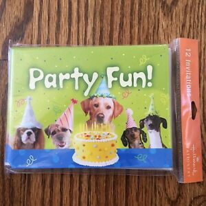Pack of 12 Birthday Invitations w/Dogs In Party Hats Hallmark Invitations