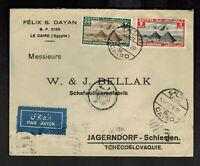 1936 Cairo Egypt Airmail Cover to Jagerndorf Czechoslovakia Felix Dayan Judaica