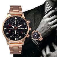New Fashion Mens Watch Crystal Stainless Steel Analog Quartz Sports Wrist Watch