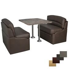 """RV 44"""" Chestnut Dinette Booth Seating Set with Luna Imperial Dining Table 2 Legs"""