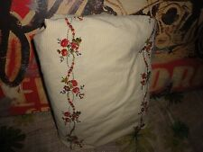 RAYMOND WAITES GOLD RED GREEN FLORAL GARDEN VINE FLORAL STRIPE TWIN FITTED SHEET