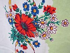 Vintage 50s Cotton Tablecloth Floral Border Print Mint Ribbon Bow Mid Century