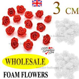 100/500 Foam 3cm Roses Wedding Craft Flower Party Decoration Favor UK SELLER
