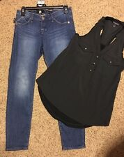 New Rock And Republic Black Top Racerback XS EXTRA SMALL Blue Heron Jeans Sz 4