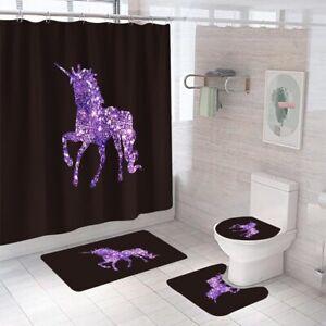 Unicorn Bathroom Rug Set Shower Curtain Thick Non Slip Toilet Lid Cover Bath Mat