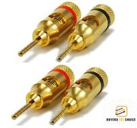 4 Pcs Banana Plug Audio Speaker Cable Wire Connector Pin Screw 24K Gold Plated