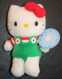 "Sanrio Hello Kitty Christmas 2000 Plush Red Striped Green Overalls Toy Mini 6.5"""