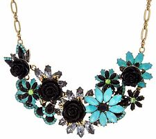 """JOAN RIVERS JEWELED GARDEN BLACK AND SEAFOAM 18"""" STATEMENT NECKLACE QVC $93.50"""