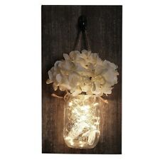Ins Rustic Mason Jar Wall Sconces With Led Fairy Lights Flowers For Country Home