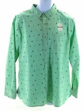 Lee Shirt Mens Size Large Mint Green With Navy Nautical Pattern Long Sleeve