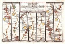 Antique map, The Road from Ferrybridge to Boroughbridge cont. to Barnard Castle