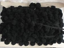 Bommelband, Bommelborte, Pompom, Pomponband, ca. 2,9 cm breit, Zierband, schwarz