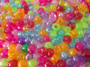 100 Barrel Pony Beads With Glitter Mixed Colours 9 x 6mm Hole: 3.5mm Craft B1