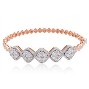 3.40 TCW SI/HI Diamond Cuff Bangle Solid 18k Rose Gold Bracelet Handmade Jewelry