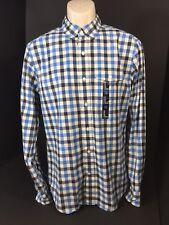 Gap Long Sleeve Dress Shirt Size Medium Slim Fit Checked Blue Black & Cream  NEW