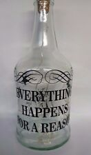 wine bottle vinyl decal stickers, everything happens for a reason , gift, craft