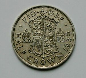1950 UK (British) George VI Coin - 1/2 Crown - circulated & toned